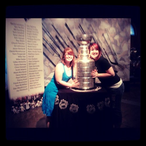 #tbt @em_christensenn and me with the Stanley Cup in Pittsburgh. Hockey season, come back! 😭 (Taken with Instagram)