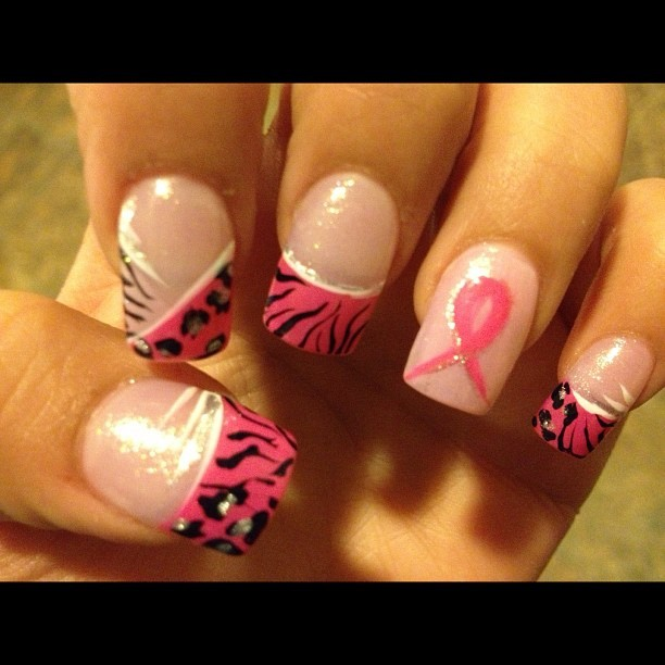 #10312 #nails #breastcancernails #breastcancerawareness #october #pamper #woman #cheetah #tiger #zebra #prints #pink #fighter #love #hope #grandmother #aunt #family #thinkpink #godbless got my nails done to represent breast cancer for October my grandmother is on hospice with stage for breast cancer &' my aunt has breast cancer is now doing chemo this is for them to fight &' with love &' respect 💖👸🎀💅 (Taken with Instagram)