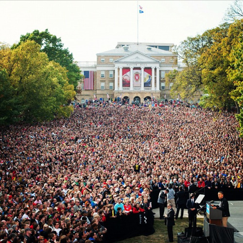 barackobama:  A few people showed up to see the president in Wisconsin today.  Chris Murphy of the Capital Times covered the President's first post-debate speech at the University of Wisconsin – Madison by incorporating many of the students' voices. See how the day shaped up here: #ObamaUW - The day in social media.