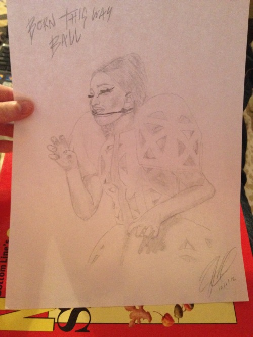 My drawing of Gaga at the BTWBall