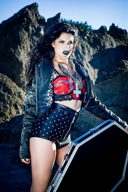 Biker jacket,Bra,Chains,Coffin,Cross,Fashion,Hotpants,Lipstick,Zips,Studs,
