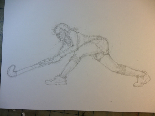 Pencil stage of a new field hockey piece.