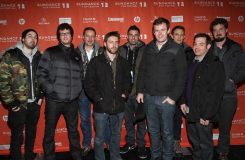 sundancearchives:  V/H/S directors and screenwriters Ti West, Tyler Gillett, Glenn McQuaid, David Bruckner, Justin Martinez, Joe Swanberg, Matt Bettinelli-Olpin, Chad Villella, and Adam Wingard gather on the press line for the film's premiere during the 2012 Sundance Film Festival.V/H/S opens in theatres on Friday, October 5.Photo by Jonathan Leibson
