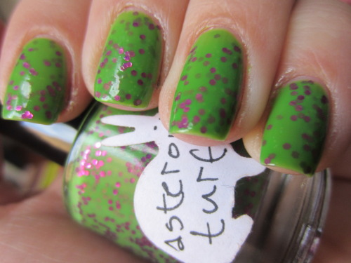 "hare polish ""asteroid turf"" i've talked about hare polish a ton before! nikole got her start here on tumblr! shes not really on tumblr anymore, but all over facebook.  she has the best nails and totally transitioned into the indie polish world.  her polishes are so popular that shes on llarowe now.  anyways, this is 2 coats and pure magic! an amazing green and i wish i had this last spring"