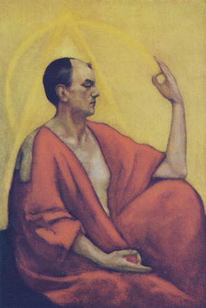 spiritscraft:  This is a painting of Aliester Crowley by Leon Kennedy. Leon Kennedy signature style was to paint the auras of occult sensitive people around their portrait. I find this particularly interesting as a witch artist.