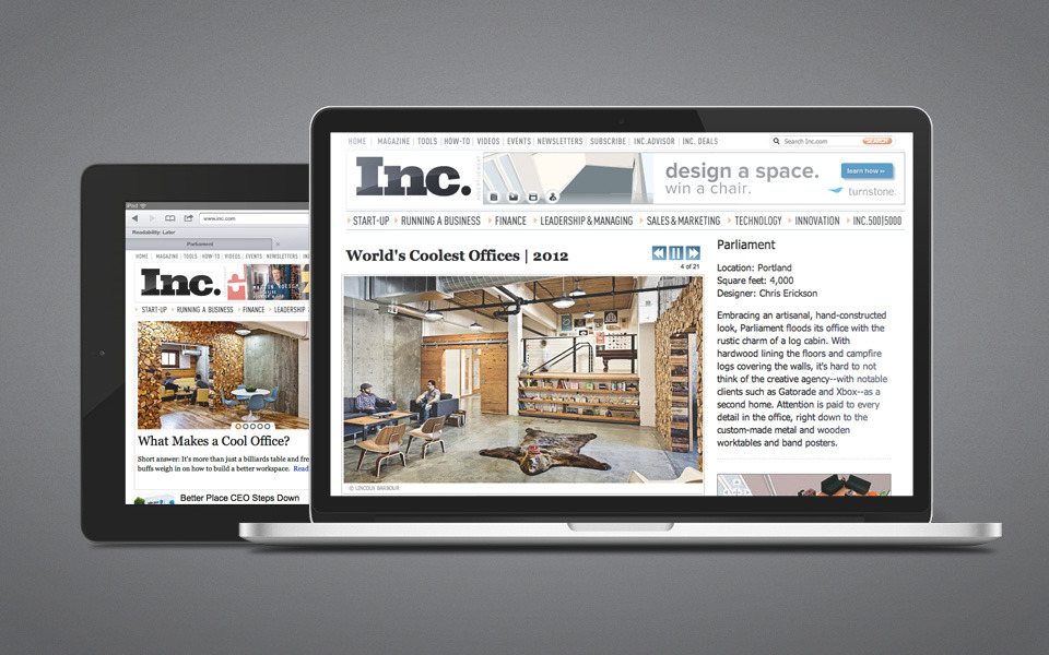 Many thanks to Inc.com for featuring our studio on their homepage, as #3 in their World's Coolest Offices article, and in What Makes a Cool Office.