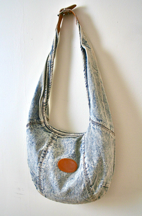 mizrowdyonthehunt:  90's Vintage Acid Wash Denim Jean Slouch Bag Found at Miz Rowdy's Treasures on Etsy