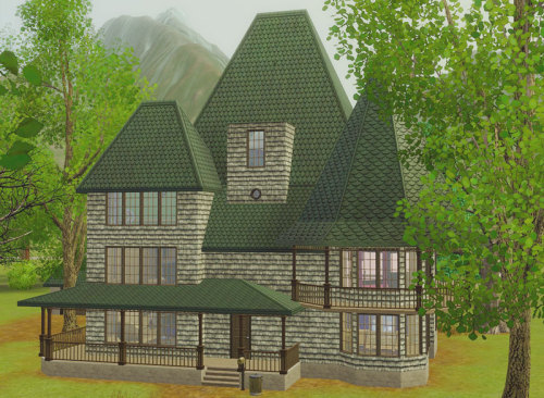 Another gorgeous house in Moonlight Falls. This time, we find ourselves meeting the Crumplebottom sisters. Oh what a trio these ladies are! More pictures to follow I promise, but I just wanted to point out one thing I have noticed as I got through each household in Moonlight Falls. For whatever reason, I would say that 80% of all the townies are made with base-game clothing and hair.  The Crumplebottom sisters are all witches and there was so much potential for EA to use all the amazing new supernatural clothing/hair that came with Sims Supernatural but all three sisters were dressed pretty much like this:  This is Belinda by the way. heh Anyway, I took my time making over the Crumplebottom sisters because I felt they deserved it. More pictures coming later today. Moonlight Falls Meet and Greet