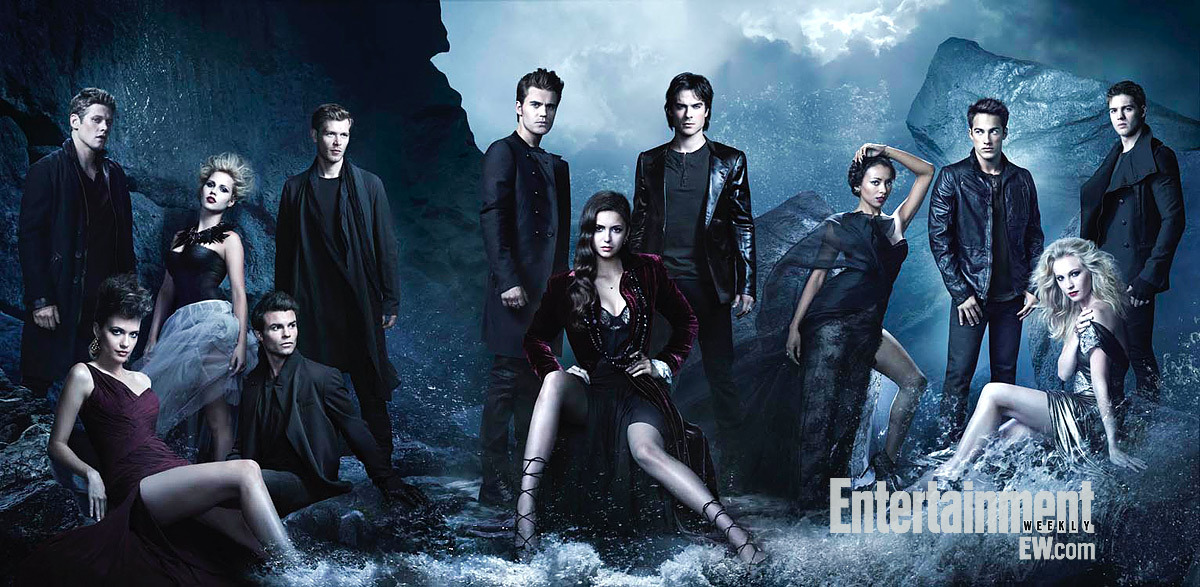 The Vampire Diaries cast go ultra-glam in this new cast photo released by Entertainment Weekly. Click on the image to enlarge. Don't miss the season premiere on Thursday, October 11.