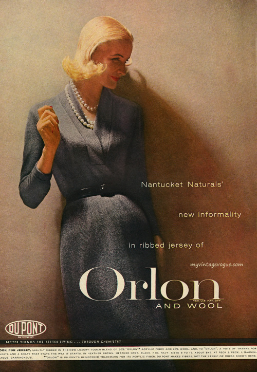 theniftyfifties:  Sunny Harnett wearing Orlon and wool fabrics by Du Pont, 1956.