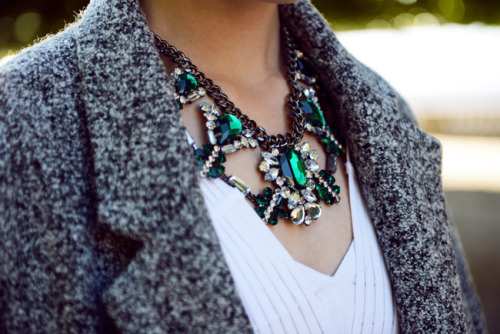 glamour:  Like the combo of costume jewels and cozy wool.