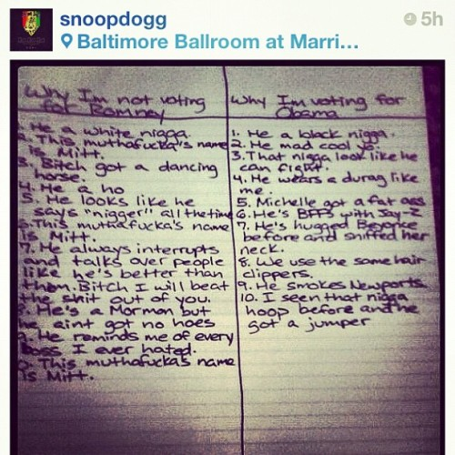 "jessbennett:  ""He's a Mormon but he aint got no hoes."" -Why Snoop Dogg's not voting for Mitt Romney. #truth #politics #hos (Taken with Instagram)  ""He's hugged Beyonce before and sniffed her neck."""