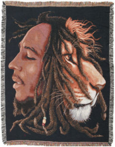 "sterlingandco:  Bob Marley is an Icon that will forever be a Legend in our hearts. Keep this Mans thoughts and Ideas alive in your own mind and heart xoThis is a perfect way to be reminded of the message he was telling throughout his life and career. Oh how he is missed!These Blankets are great wall hangings, double use as a Tapestry. The perfect decor for the Human with One Love in their heart xo The Lion of Judah is an important symbol to Rastas, for several reasons. The lion appears on the Imperial Ethiopian flag, used in Haile Selassie I's Ethiopia. In addition, the Ge'ez title Mo`a Anbesa Ze'imnegede Yihuda (""Conquering Lion of the Tribe of Judah"") has been applied to Ethiopian Emperors since time immemorial, traditionally beginning with Menelik I, said to be the son of king Solomon (c. 980 BC). It is unknown whether John of Patmos was aware of this ancient Ethiopian title when he penned it into the Book of Revelation 5:5, in reference to the returned Messiah."