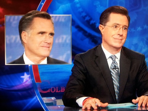 "odinsblog:  divineirony:  inothernews:  Stephen does Mitt Romney's ""confident half-smile.""  It's a look that says, ""I get my own planet when I die, your argument is invalid.""  nope. it's the, ""hey look, i just did a trick—now pat me on the head"" look  Hold on, wait:"