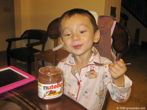 Adora trying Nutella for the first time