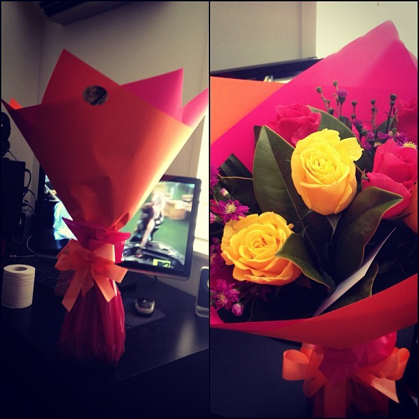 Awww thanks babe ❤ I love them #instagram #photo #photography #pretty #roses #colour #best #boyfriend #love #amazing #beauty #fresh #pink #orange #yellow #purple  (Taken with Instagram)