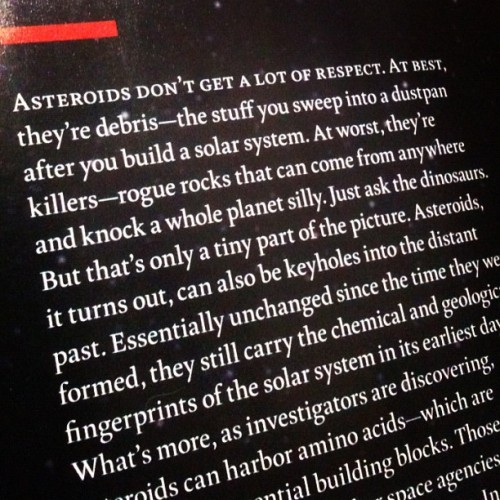 "Why I love science writers: ""Answers in the Asteroids"" by Jeffrey Kluger for TIME."