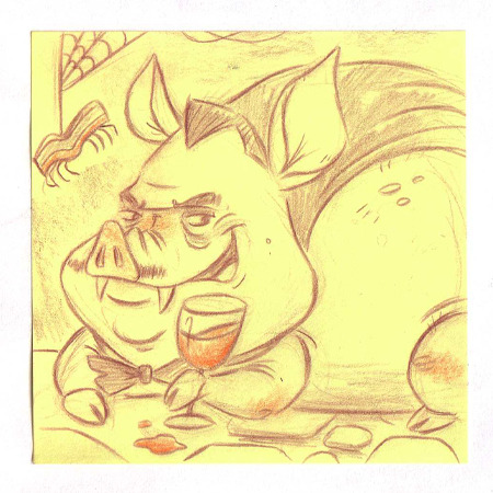 Hallo-Ween Post it #4 Vampire Pig!  Be sure to check out Undead Dapper Dan's companion Post it as he and I count down the days until the big H-ween!