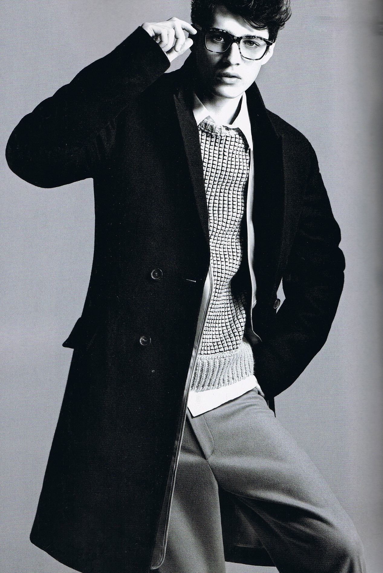 ianaitch:  Almost Sunset Magazine: GQ China #Oct 2012 Photography: Chad Pitman Styling: Sean Spellman Adrien Sahores wearing Gucci coat & Calvin Klein pullover and trousers   It's is cute!!!!!!! I have to order 1 copy soon.