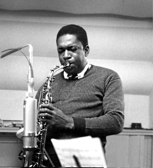 jazzrelatedstuff:  Rare picture of Coltrane playing the alto sax.