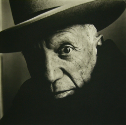 artnet:  Picasso Irving Penn's photographs have become documents of an era; he has photographed everyone from the native people of Morocco to artists, musicians, writers, and celebrities. He has taken editorial fashion photographs as well as provocative nudes. Penn's piercing portrait of iconic artist Pablo Picasso is one of his most famous works.  Bid on Picasso (B) Cannes, 1957 on artnet Auctions.   PICASSO & PENN TOGETHER….2 OF MY FAVORITES!!!…. :)