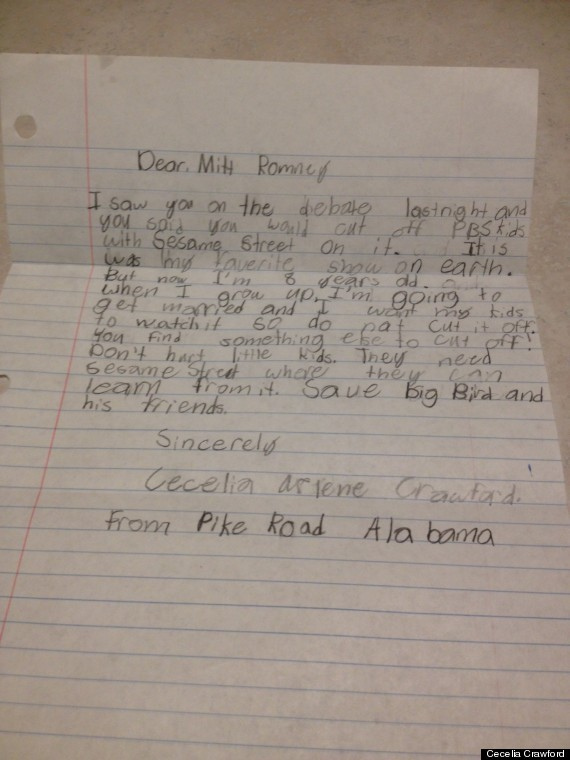 Little girls Letter to Mitt Romney. Wow