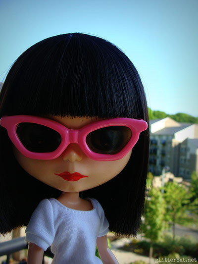 guardian:   'This is Elvie - my very first Blythe. I cut and styled her hair, and she's had more little bits of custom work done and redone than I care to count' See our full gallery of slightly disturbing Blythe dolls here. Photograph: Jess Lowndes/glitterbat.net   @thedollqueen might enjoy this, mayhaps?
