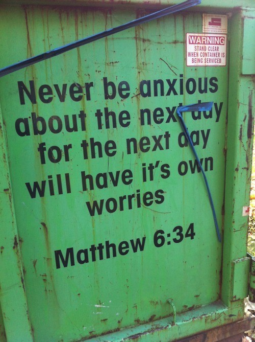 spiritualinspiration:  1.Worrying Accomplishes Absolutely Nothing.  I don't know about you, but I don't have any time to waste these days. And worrying is a waste of very precious time. Worrying won't help you solve a problem or bring about a solution, so why waste your time and energy on it?  Matthew 6:27-29Can all your worries add a single moment to your life? And why worry about your clothing? Look at the lilies of the field and how they grow. They don't work or make their clothing, yet Solomon in all his glory was not dressed as beautifully as they are. (NLT)  2. Worrying is Not Good for You.  Worrying is destructive to us in many ways. It becomes a mental burden that can even cause us to grow physically sick.      Proverbs 12:25     Worry weighs a person down; an encouraging word cheers a person up. (NLT)   3. Worrying is the Opposite of Trusting God.  The energy that we spend worrying can be put to much better use in prayer. Here's a little formula to remember: Worry replaced by Prayer equals Trust. Matthew 6:30 And if God cares so wonderfully for wildflowers that are here today and thrown into the fire  tomorrow, he will certainly care for you. Why do you have so little faith? (NLT)  Philippians 4:6-7 Don't worry about anything; instead, pray about everything. Tell God what you need, and thank him for all he has done. Then you will experience God's peace, which exceeds anything we can understand. His peace will guard your hearts and minds as you live in Christ Jesus. (NLT)   4. Worrying Puts Your Focus in the Wrong Direction.  When we keep our eyes focused on God, we remember his love for us and we realize we truly have nothing to worry about. God has a wonderful plan for our lives, and part of that plan includes taking care of us. Even in the difficult times, when it seems like God doesn't care, we can put our trust in the Lord and focus on his kingdom. God will take care of our every need. Matthew 6:25 That is why I tell you not to worry about everyday life-whether you have enough food and drink, or enough clothes to wear. Isn't life more than food, and your body more than clothing? (NLT)   Matthew 6:31-33 So don't worry about these things, saying, 'What will we eat? What will we drink? What will we wear?' These things dominate the thoughts of unbelievers, but your heavenly Father already knows all your needs. Seek the Kingdom of God above all else, and live righteously, and he will give you everything you need. (NLT)  1 Peter 5:7 Give all your worries and cares to God, for he cares about you. (NLT)   www.facebook.com/naeemcallaway