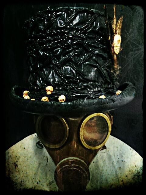 "zombiemergencyresponseoperations:  My new ""Steampunk"" XOMBIE gas mask. Taken at the Mr. Bones and The Boneyard Circus, ROGUE magazine photoshoot."