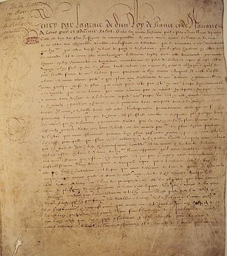 Remember the Edict of Nantes? Passed on April 13th, 1598 by Henry IV of France, this document gave some religious freedom to Huguenots (French Calvinists) by allowing the practice of Protestantism in 150 specified cities around France (Paris was not one of them). Huguenots gained civil rights and a court that contained both Protestants and Catholics to work out issues between them. It marked the end of the religious wars that had torn through France in the late 16th century. On October 18th, 1685, Henry IV's grandson, Louis XIV, repealed the Edict as a way to further his absolute power. (Ironically, Henry IV had passed it to INCREASE his power.)