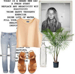 wild-coconut:  Bondi by my-summer featuring boyfriend jeans Ksubi boyfriend jeans, $285 / A.P.C. a p c / IKEA Ravenea / Glass Water Bottle Tall