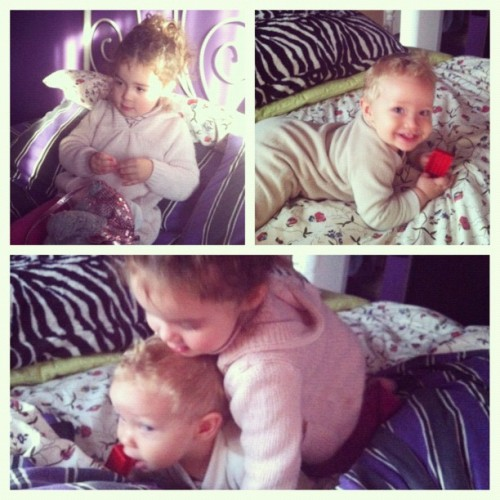 Woke up to these cuties this morning 😍 #instamood #instaphoto #instashot #instamoment #instagood #iphoto #iphone4 #personal #instagramer #instago #goodmorning #kids #riseandshine #littlegirl #babyboy #picstitch #siblings #surprise #neighbours #morning (Taken with Instagram)