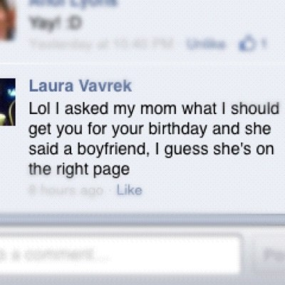 Not sure how to feel about this X) @imlaurarawr #birthday #foreveralone (Taken with Instagram)