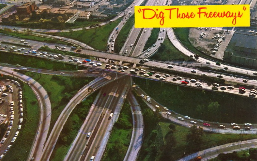 DIG THOSE FREEWAYS  FREEWAY INTERCHANGE shows fast moving traffic on 4 levels — downtown Los Angeles.
