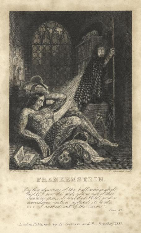 "Frontispiece to the 1831 edition of Mary Shelley's ""Frankenstein"""