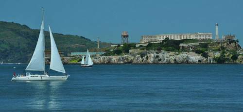 Alcatraz and Sail Boats by deanwampler on Flickr.