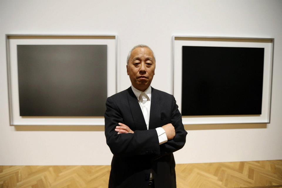 Artist Hiroshi Sugimoto poses in front of his photographs at the launch of Pace London on October 3rd, 2012.  You can see more photographs from the opening of Rothko/Sugimoto: Dark Paintings and Seascapes on our official facebook page. Photo Credits: Chris Jackson/Getty Images for Pace London