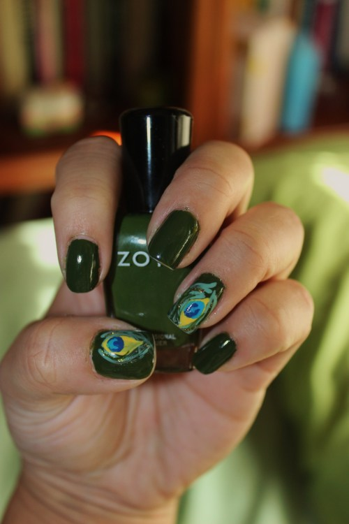 Peacock Feathers using Zoya's Shawn.  In love with this color!Enjoy! :)