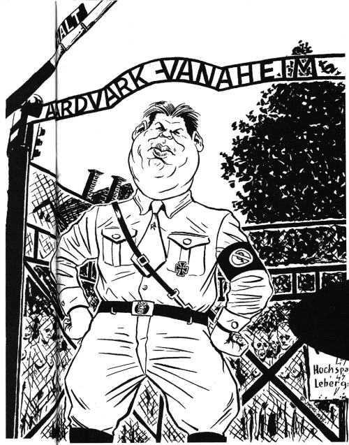 "The ""Dave Sim as Hitler"" cartoon by Jeff Wong still causing controversy, 17 years after its publication in The Comics Journal #174, February, 1995."