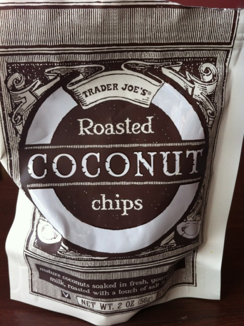 Coconut chips are a new Trader Joe's product - I tried them yesterday for the first time and liked them. They are small pieces of coconut that are crispy and a little sweet.