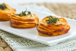 squaremeal:  Gluten Free (via YummyVeggie! / Sweet Potato Stacks with Crispy Sage Leaves)