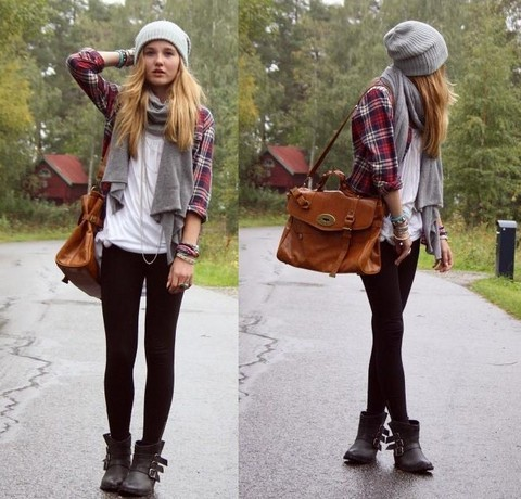 #PinterestFashionFind: Plaid, leggings, scarf & boots. Perfect #fall #fashion look. Source: http://lookbook.nu/look/1020896-SEPTEMBER