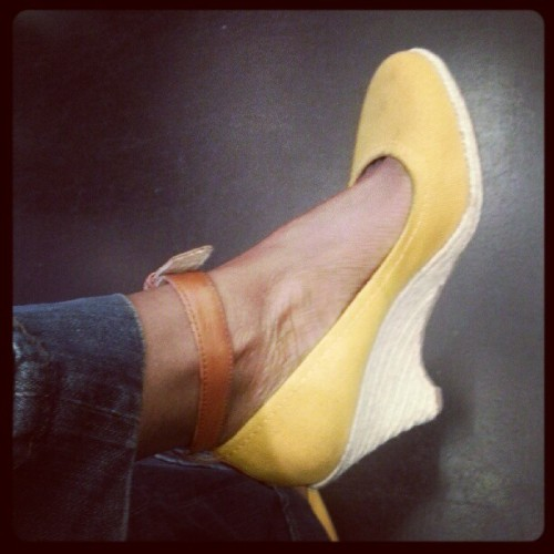Today's shoe game. MIchael Kors. I'm going through a wedges phase.  (Taken with Instagram)