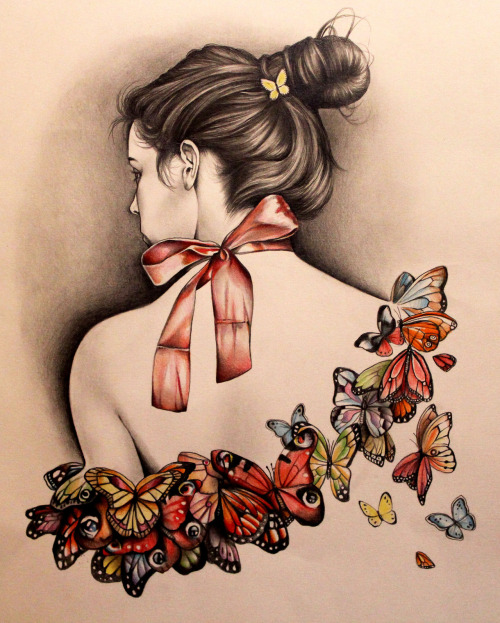"wryer:  A new drawing. ""L'effet papillon."" I did a drawing like this a while ago, but someone asked me to recreate it for a commission :-) Ƹ̴Ӂ̴Ʒ   Wow it is best drawing…"