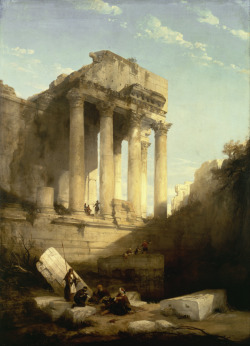 srednod: David Roberts | The Temple of Bacchus, Baalbek, 1840