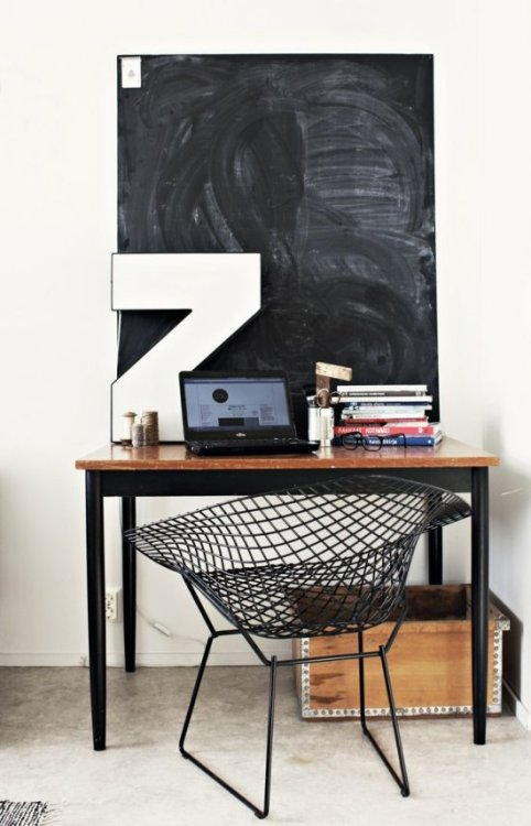 Source: Vosges Paris Hmmm Bertoia Diamond chair and a chalkboard. Need I say more!
