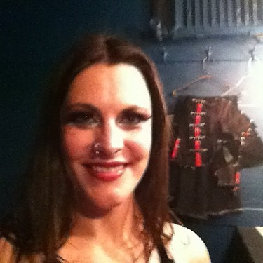 from Floor's Twitter feed  My 'right after the show' with @NightwishBand pic! It was magical here in San Fransisco!!!