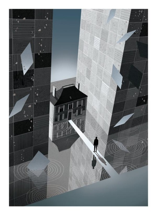 Inception Movie Poster Illustration Illustrator Adam Simpson created a series of fantastic artworks and movie posters for the 2011 BAFTA Film Awards. more on WE AND THE COLORFacebook // Twitter // Google+ // Pinterest