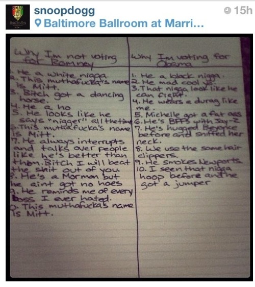 Snoop Dogg's list of reasons why he's voting for Obama instead of Romney. (via Mike Rundle and Matt Alexander)