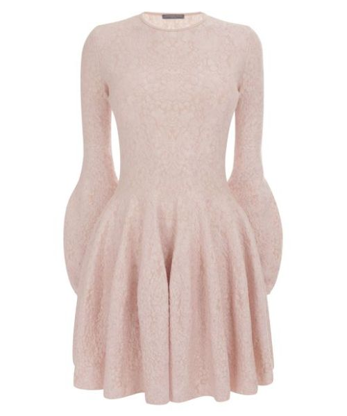 What? Blossom Pink Circle Mini-DressWho? Alexander McQueen  —-  I've always adored Alexander McQueen's pieces. It was saddening and shocking to find out he passed away some time ago. I remember seeing his ala wildlife and adventurous exhibit online while they were still showing it in his website. Everything was beautiful and feminine. Every detail he designed was made to just fit to a woman's curves and yet still having that space for freedom, that slight punch that would make his pieces unique.  If only I had £1,495.00 (plus shipping fee) I might actually get this dress. It's pretty simple and I'm such a sucker for lace work. But mostly it's because it's from Alexander McQueen.